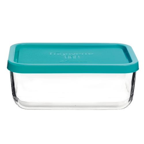 Bormioli Rocco Frigoverre Glass Storage Container With Blue Lid 1.0lt x 8