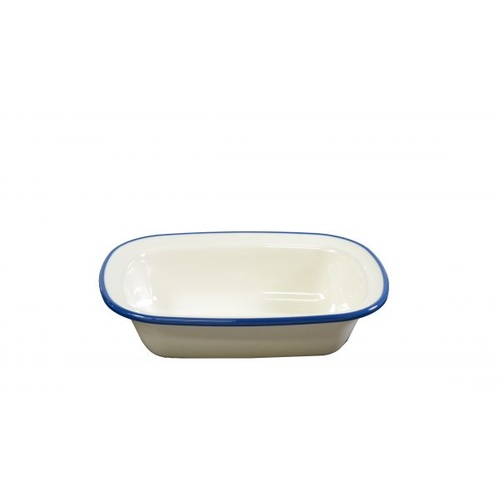 Jab Vintage Cream/Blue Rim Enamel Look Rect Server 200X145Mm