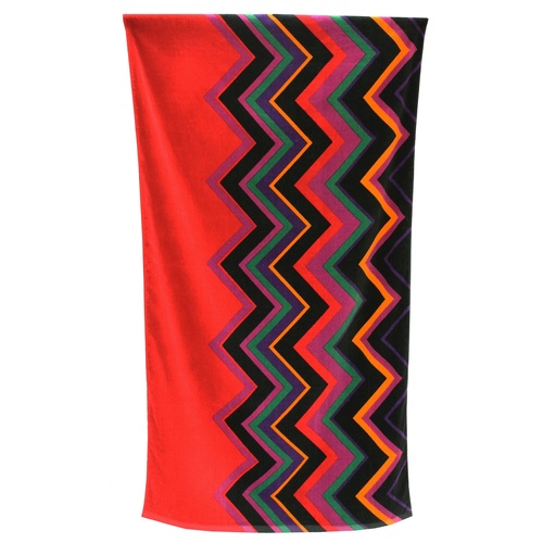 Beach Towel ZigZag Red