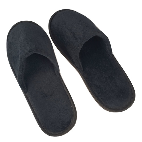 Closed Toe Velour Black Slipper 29cm
