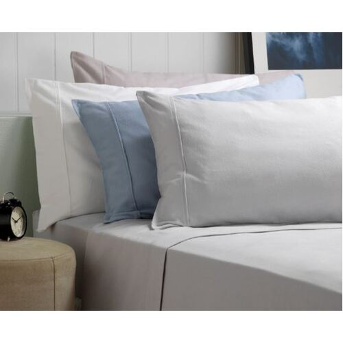 Fletcher Split King Flannelette Cotton Sheet Set - White